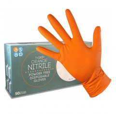 ASAP T-Grip Orange Nitrile Diamond Texture